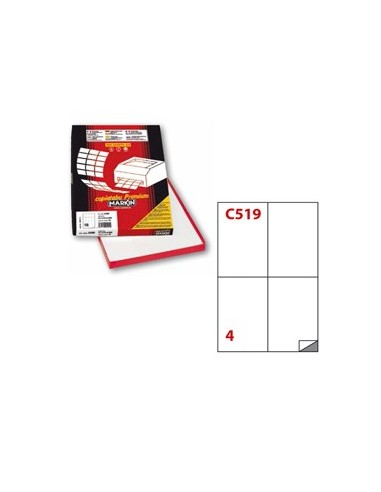 Etichetta adesiva C/519 bianca 100fg A4 105x148mm (4et/fg) Markin