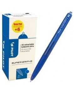 Value pack 30pz penna sfera Supergrip G a scatto blu punta fine 0.7mm Pilot