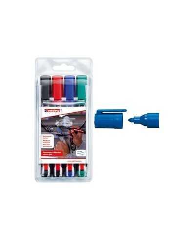 Astuccio 4 marcatore permanente 300 punta conica colori assortiti Edding