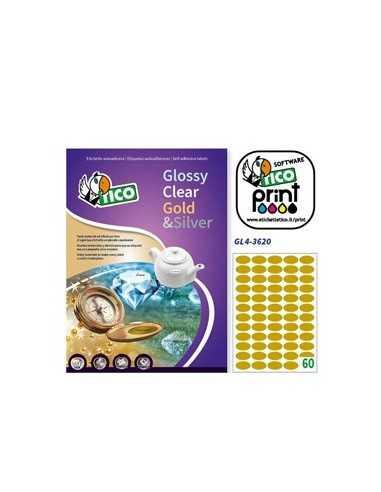 Etichetta adesiva GL4 ovale oro satinata 100fg A4 36x20mm (60et/fg) Tico