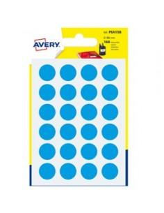 Blister 168 etichetta adesiva tonda PSA blu Ø15mm Avery