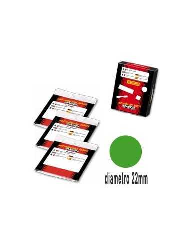 Etichetta adesiva verde tonda Ø22mm (10fogli x 30etichette) Markin