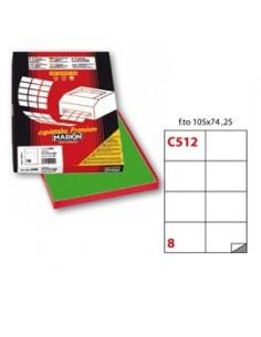 Etichetta adesiva C/512 verde 100fg A4 105x74mm (8et/fg) Markin