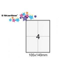 Etichetta adesiva bianca 100fg A4 105x140mm (4et/fg) STARLINE