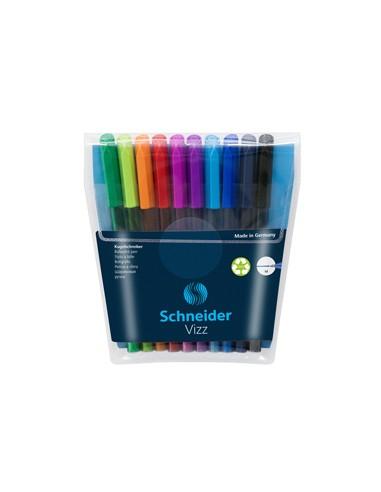 Astuccio 10 penne a sfera Vizz c/cappuccio punta M colori assortiti Schneider