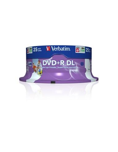 SCATOLA 25 DVD+R DUAL LAYER 8X 8.5GB 240MIN. SERIGRAFATO SPINDLE