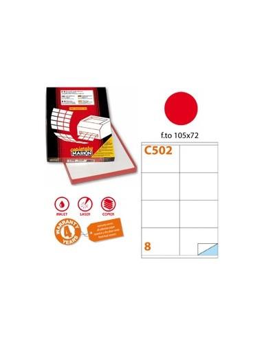 Etichetta adesiva C/502 rosso 100fg A4 105x72mm (8et/fg) Markin