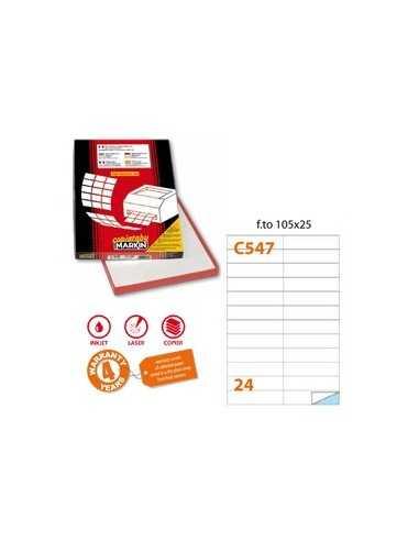 Etichetta adesiva C/547 bianca 100fg A4 105x25mm (24et/fg) Markin