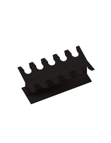 Portatimbri lineare in metallo 075-N 10 posti nero LEBEZ