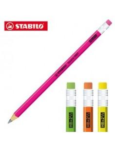 Blister 12 matite grafite c/gommino HB fusto in 4 colori fluo Stabilo