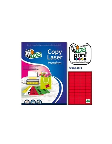 Etichetta adesiva LP4F rosso fluo 70fg A4 47