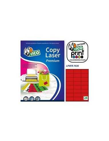 Etichetta adesiva LP4F rosso fluo 70fg A4 70x36mm (24et/fg) Tico