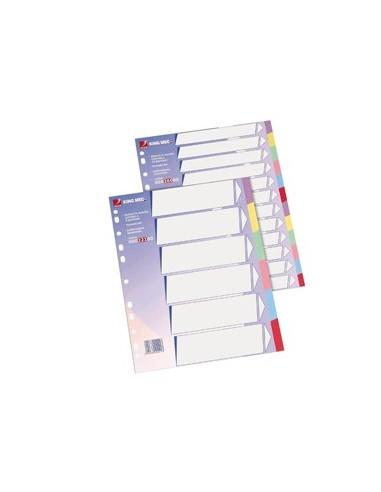 Separatore in cartoncino neutro con 12 tasti colorati 225gr f.to A4 KING MEC