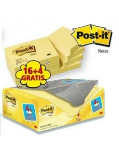 VALUE PACK 16+4 BLOCCO 100fg Post-it®Giallo Canary™ 38x51mm 72GR 653CY-VP20
