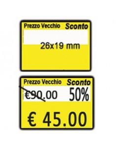 """PACK 10 ROTOLI 600 ETICH. 26x19mm """"Taglio prezzo..."""" GIALLO REMOV. Printex"""